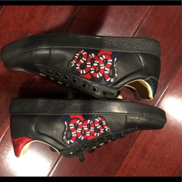 Black Gucci Ace Embroidered Sneaker Sz